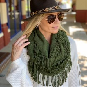 Green Cable Knit Fringe Infinity Scarf